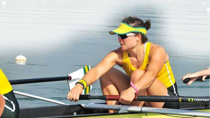 Toowoomba's Sally Kehoe preparing for the Olympic Games women's eight heats at Eton Dorey on Sunday.