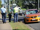The bike rider has been airlifted to Brisbane after the bike and a car collided.
