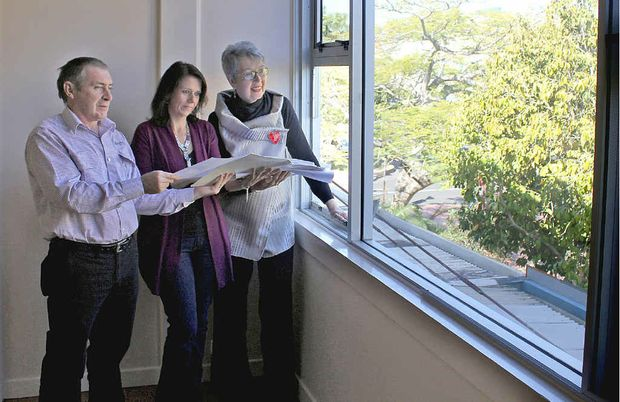CITY LIVING: Lismore Council's senior fires safety officer Andrew Weir, shop owner Lynn Bassey and Mayor Jenny Dowell look out over Magellan Street.