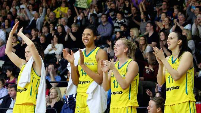 Elizabeth Cambage (second from left) seen here celebrating with her Opals teammates.