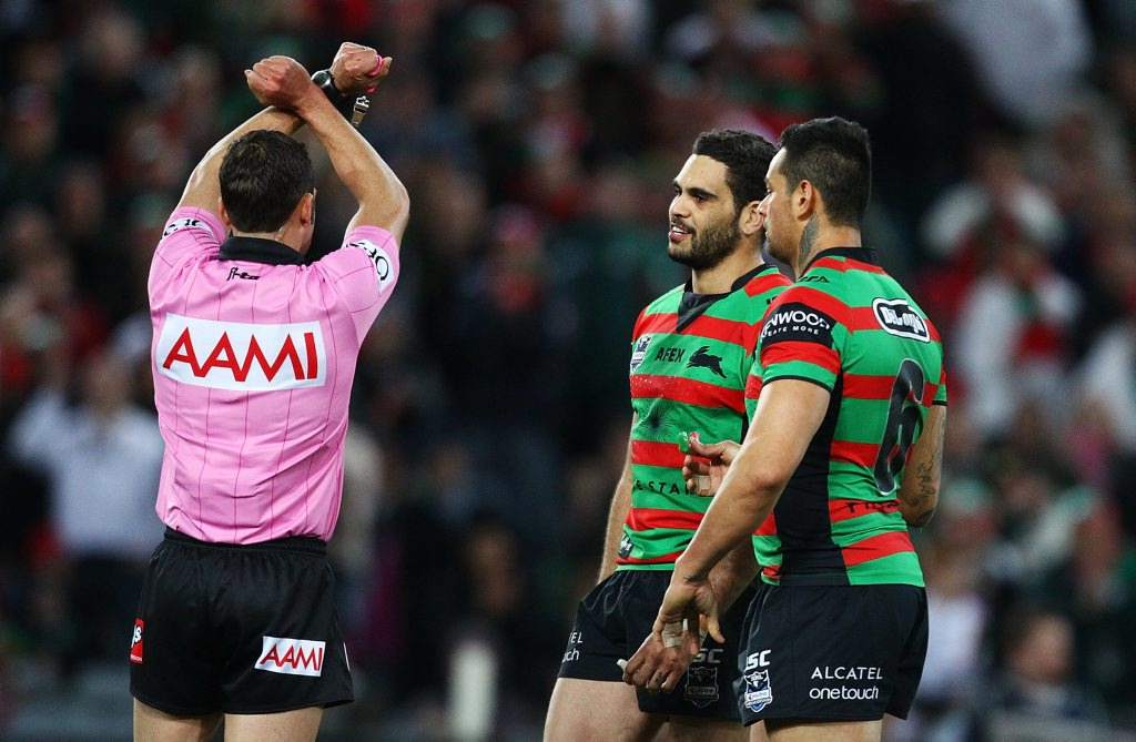 Greg Inglis of the Rabittohs is put on report for his tackle on Dean Young of the Dragons during the round 20 NRL match between the South Sydney Rabbitohs and the St George Illawarra Dragons at ANZ Stadium on July 21, 2012 in Sydney, Australia.