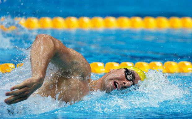 Ryan Napoleon finished last in the men's 400 metre freestyle final.
