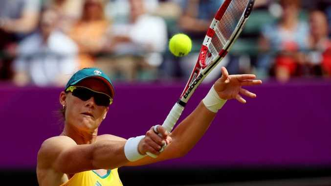 Sam Stosur has been bundled out in the first round at the London Olympics.