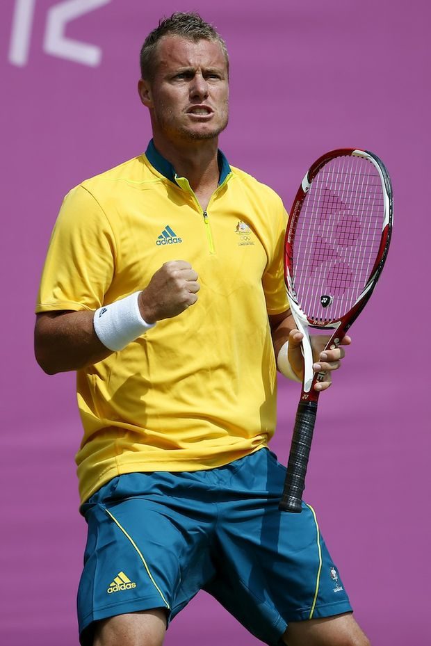 Lleyton Hewitt has advanced to the next round at the London Olympics.