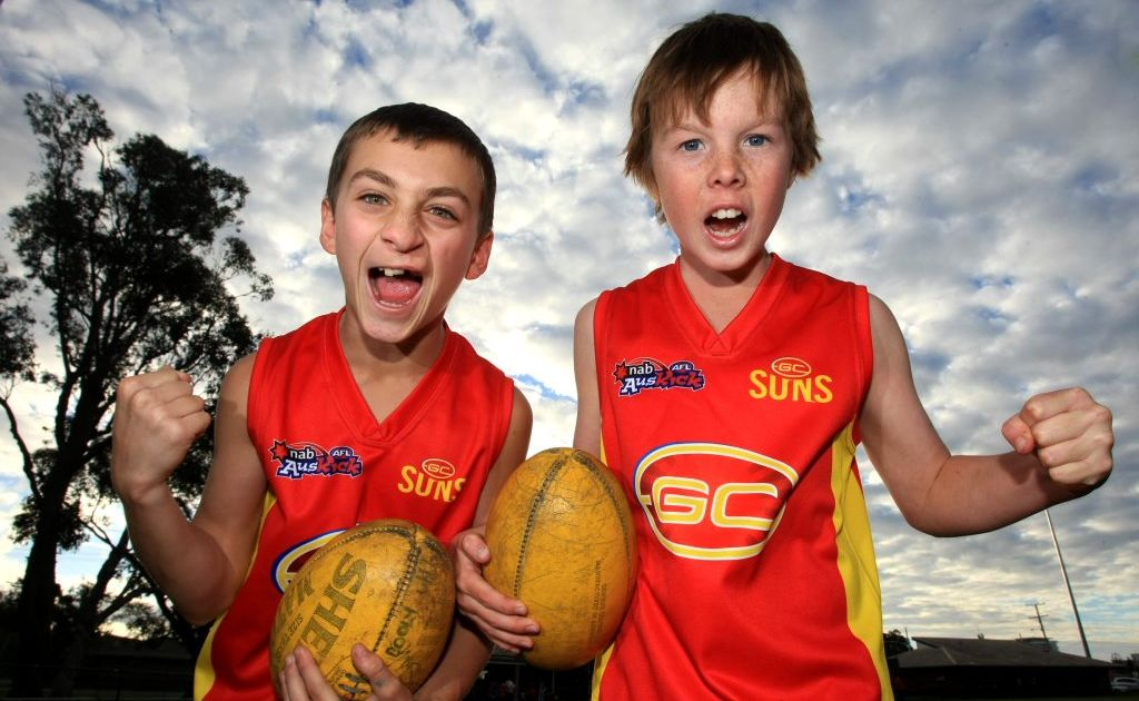 Max Murray and Beau Kelly love going to live footy games.