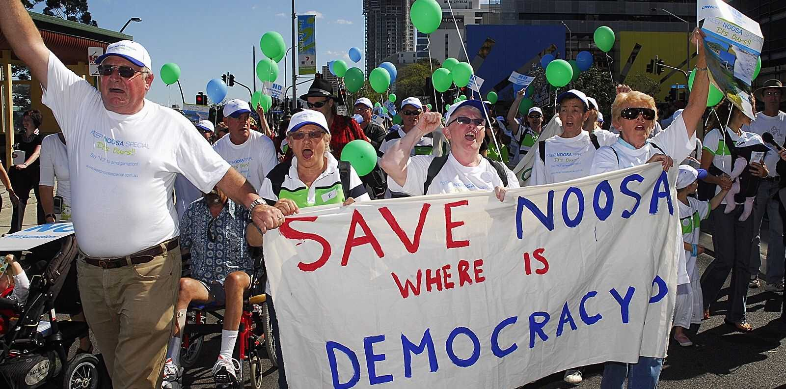 Protesters get vocal during an anti amalgamation rally in 2007.