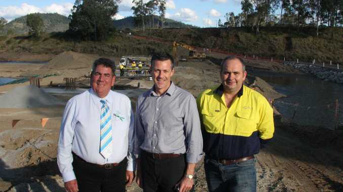 Somerset Mayor Graeme Lehmann, Queensland Reconstruction Authority CEO Graeme Newton and James Long of Construction Project Management touring the Somerset region to inspect flood repair works.