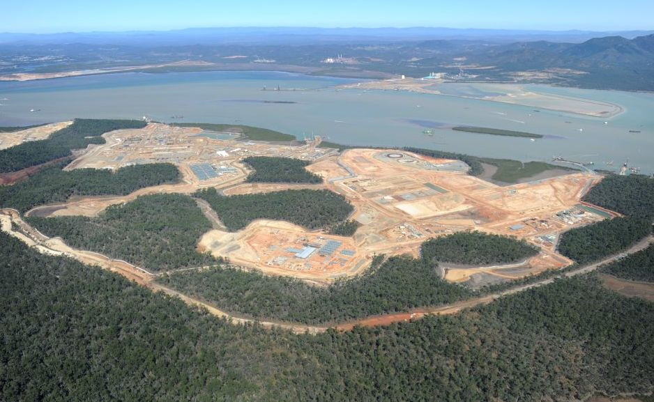 Aerial View of Curtis Island, LNG sites. Gladstone.