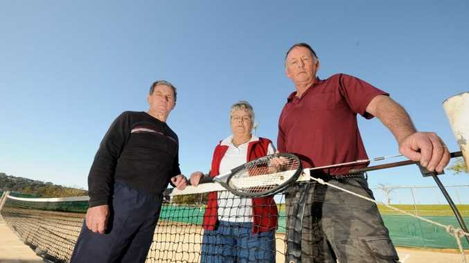 Lights Tennis Club's Jeff Kennedy, secretary Val Hollands, and president Chris Bromleyare not happy Lismore City Council wants to do away with the old courts for a new development.