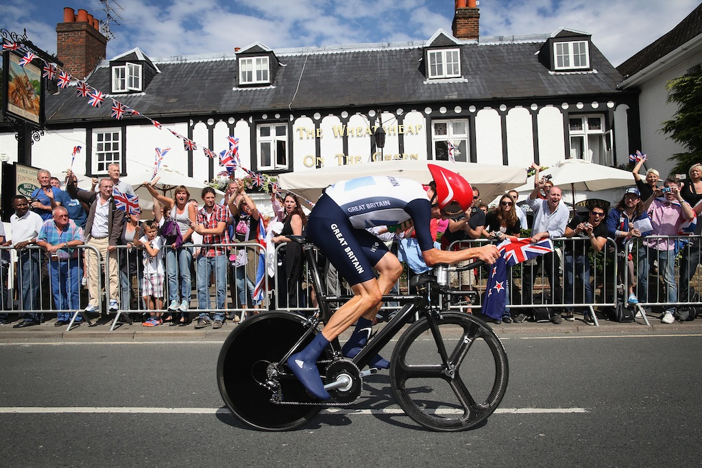 Bradley Wiggins has won gold in the men's time trial.