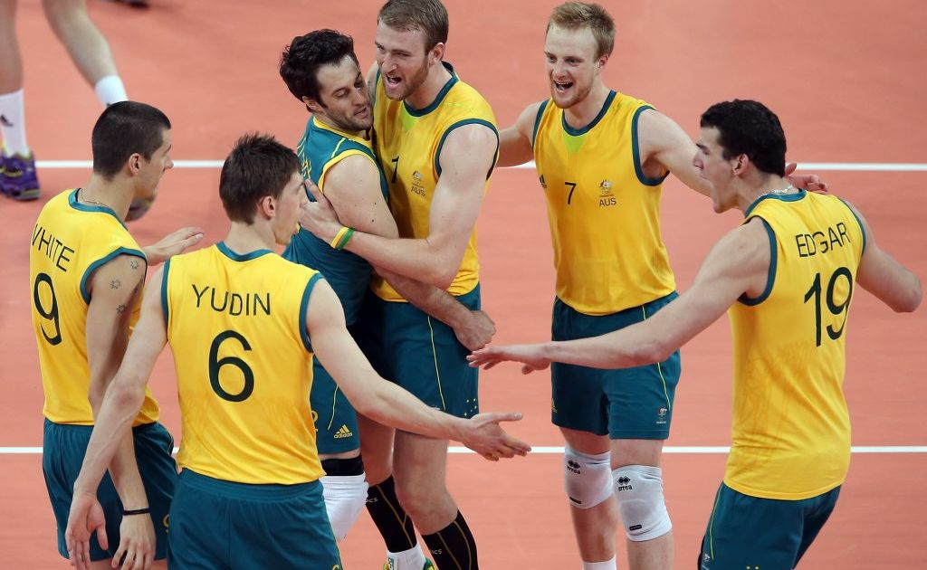 Australia celebrates after scoring against Great Britain during Men's Volleyball on Day 4 of the London 2012 Olympic Games at Earls Court on July 31, 2012 in London, England.