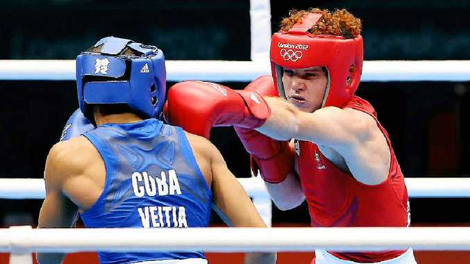 Australian Billy Ward (in red) in action against Cuba's Yosbany Veitia Soto at the London Olympics.