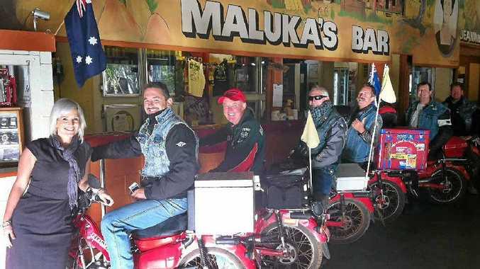The Pelican Posties refuelled their bikes at Malukas Bar at Mataranka Homestead, Katherine.