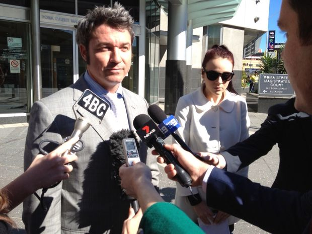 Child Safety Minister Tracy Davis's daughter Alexandra outside Brisbane Magistrates Court with her lawyer Michael McMillan after facing drug charges.