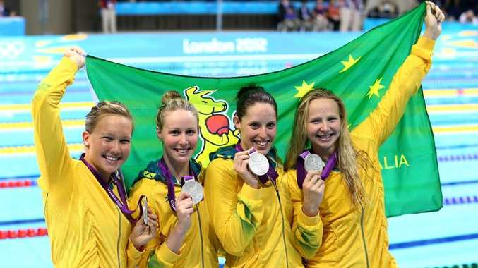 (L-R) Kylie Palmer, Bronte Barratt, Alicia Coutts, and Melanie Schlanger of Australia pose with their silver medals following the medal ceremony for the Women's 4x200m Freestyle Relay on Day 5 of the London 2012 Olympic Games.