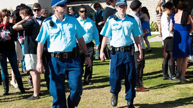 Coffs Harbour police monitor the crowd at the Coffs Harbour Gold Cup.