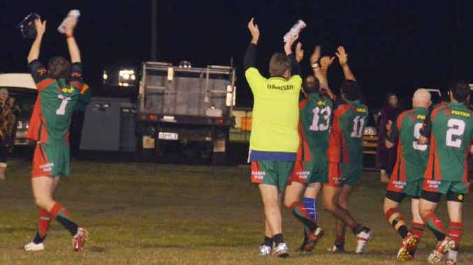 The Bluff Rabbitohs celebrate a superb comeback in the semi-final play-off on Wednesday night.