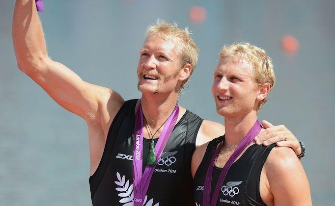 Eric Murray and Hamish Bond celebrate winning gold.