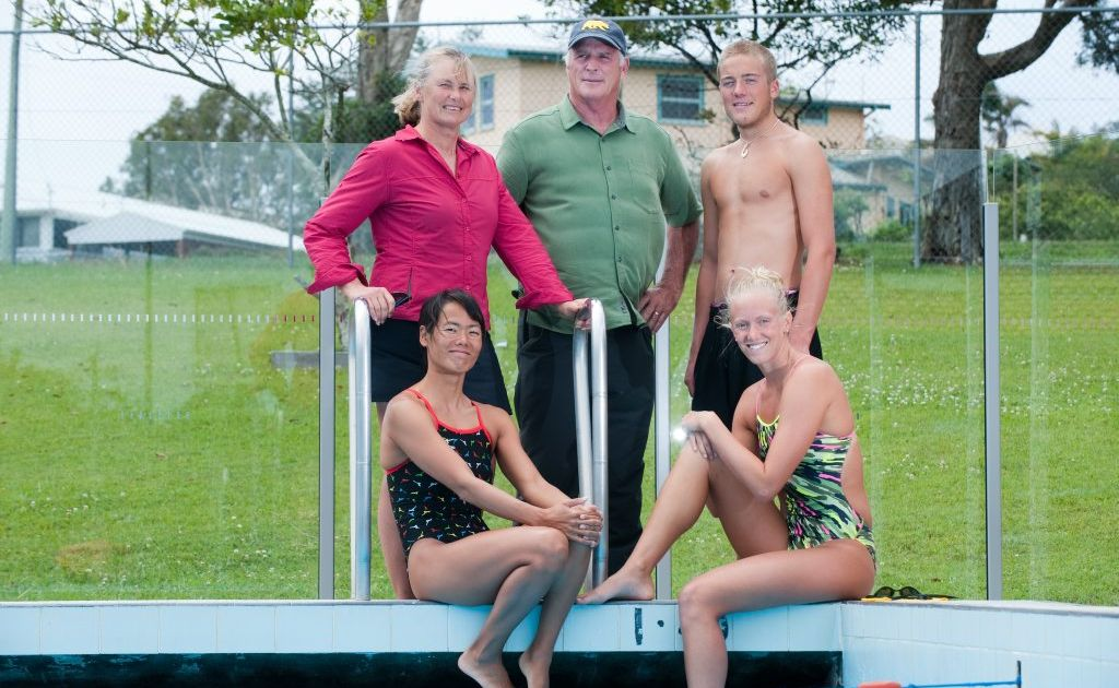 Woolgoolga Pool ,SWIMMING legend, Shane Gould, with husband and coach Milt Nelms and swimmers Michael Havenar (back); Noriko Inada and Dana Vollmer (right) Photo: Trevor Veale / The Coffs Coast Advocate