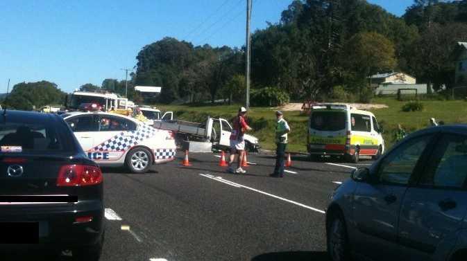 The scene of the three-car crash.