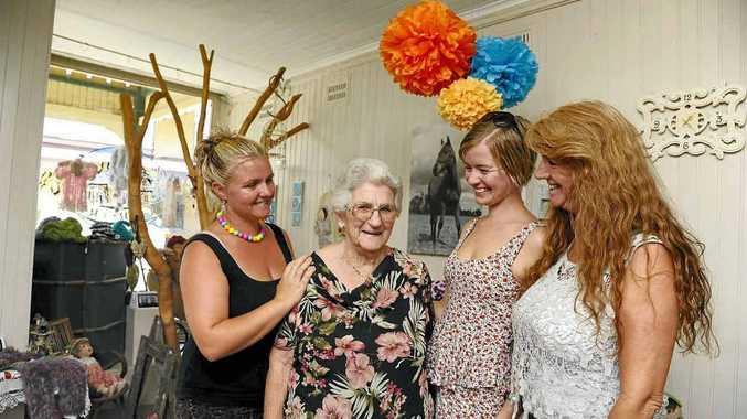 Elma with grand daughters Harmony, Krystal and Elma's daughter Roslyn Gray in the Mary n Me unique handcrafts and gift ware shop in Ulmarra.