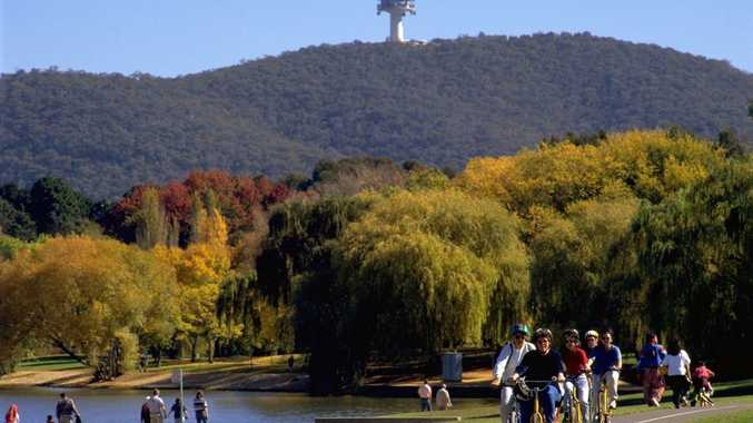 View of Black Mountain Tower and Black Mountain from the Lake Burley Griffin foreshore.