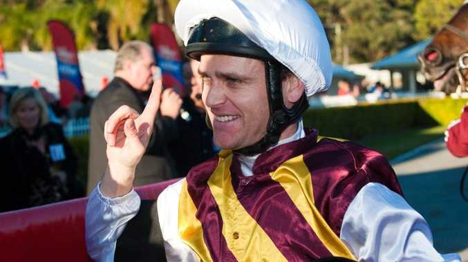 Jockey Danny Nikolic was thrilled with his win on Pepperwood in the 2012 Calton Mid Coffs Harbour Gold Cup on Thursday, August 2.