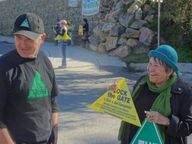 Dominic King and Carol Vernon protest Coal Seam Gas mining in the region at Bellingen's Lavender Bridge during the NAB Cycle Challenge.