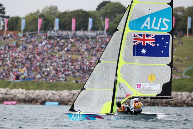 Nathan Outteridge (right) and Iain Jensen have assured themselves the gold medal in the men's 49er.