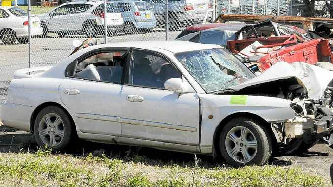 The Hyundai Sonata sedan involved in the fatal crash in Ballina early yesterday morning.