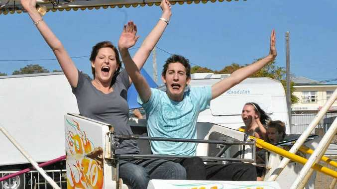 Jasmyn Teubler and Andrew Rose on the Big Whizzer at Gladstone Show.