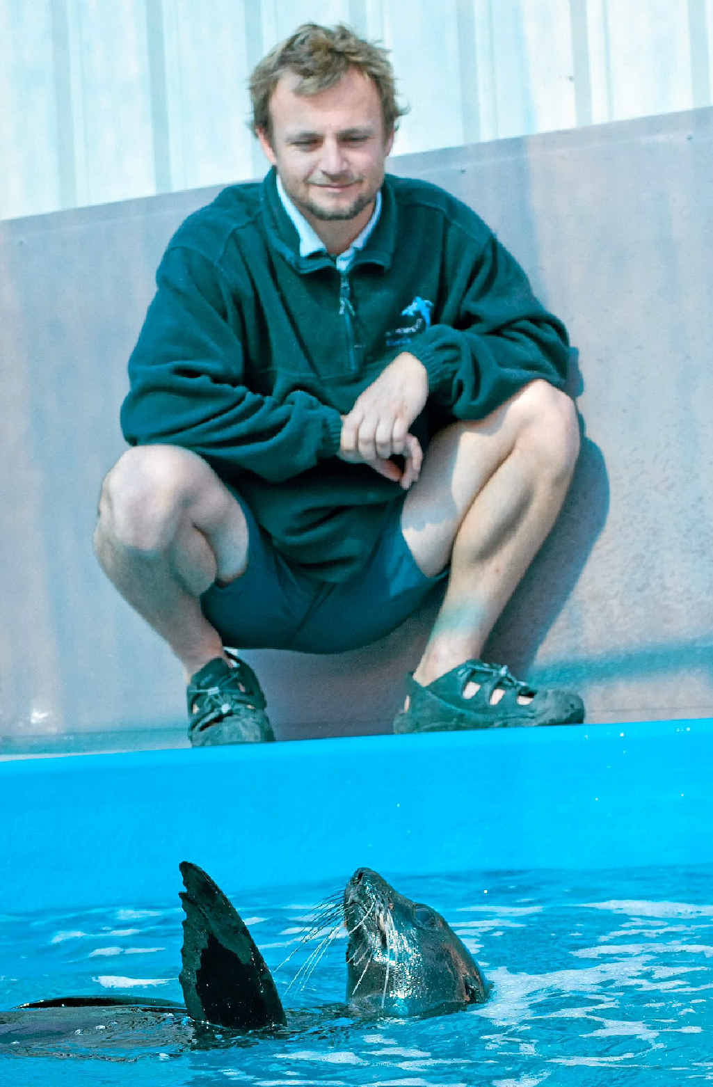 Dr Duan March and the juvenile fur seal under rehabilitation at the Pet Porpoise Pool.