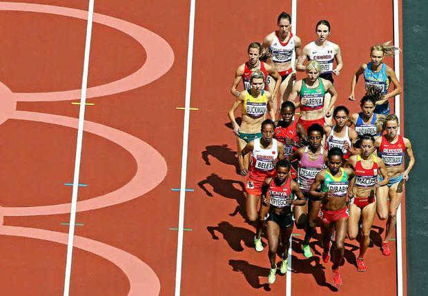 Zoe Buckman (on the left) representing Australia in the 1500m athletics event at London's Olympic Stadium on Monday.