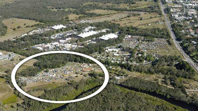 The circle shows the area next to Splendour In The Grass that police and council claim was used illegally for camping during Splendour.