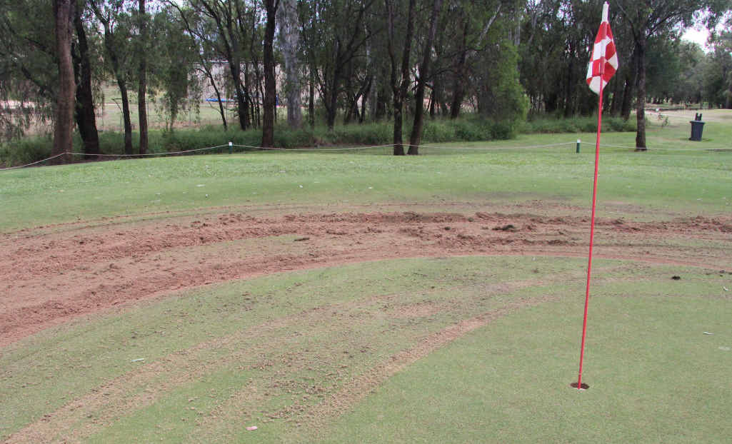 One of the golf greens which were driven on by Akariri-Buckley.