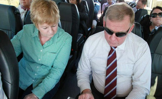 Isaac Mayor Anne Baker discusses housing allotment plans with Deputy Premier Jeff Seeney in Moranbah.