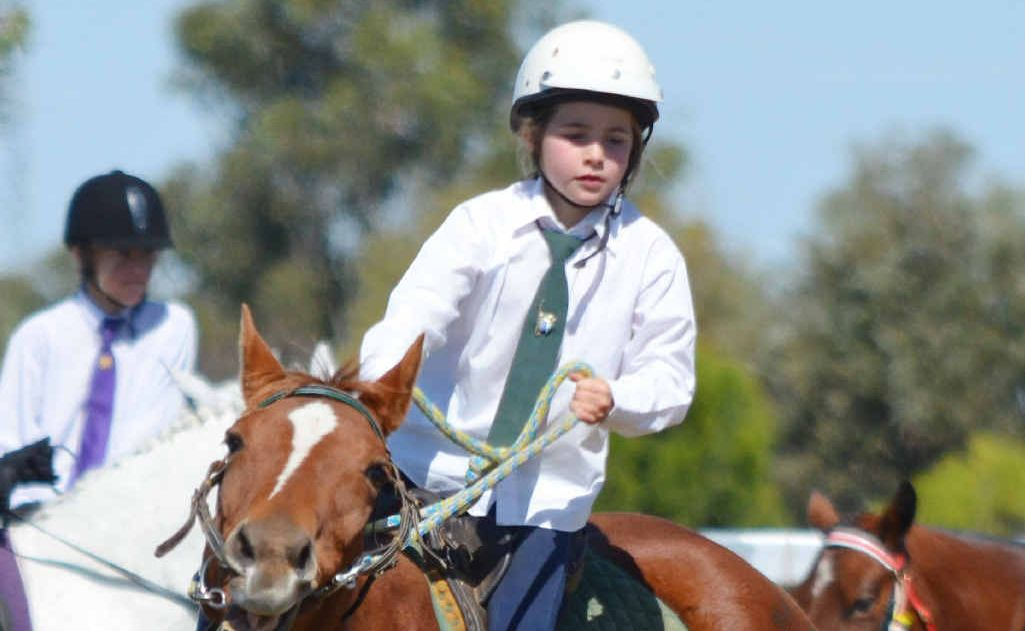 A Mackenzie River Pony Club rider in action at the Blackwater gymkhana at the weekend.