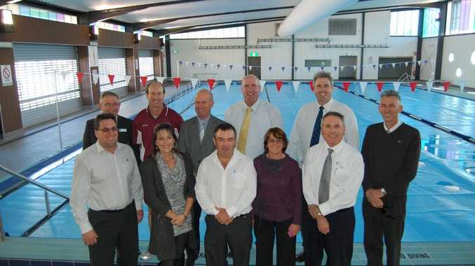 POOL PEOPLE: Western Downs councillors inspect the new 25-metre heated six lane indoor pool at Dalby.