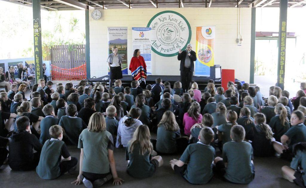 Cultural diversity week WIN workshop, Kin Kora State School. Photo Tom Huntley / The Observer