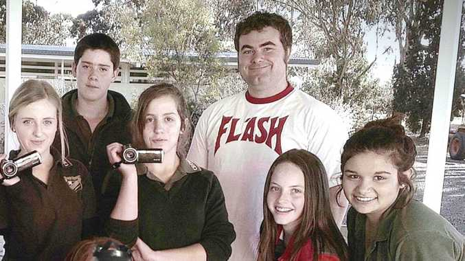 Ready to get filming in the Origin8 Fast Film Festival are Crows Nest State School students (from left) Tanika Spierenburg, Ben Reinke, Caitlin Fraser, Nicole Atkinson and Chloe Wood with facilitator Josh Long.