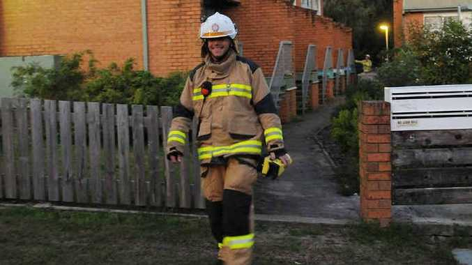 A Gympie fireman at the scene Tuesday evening.