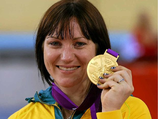 Rockhampton's Anna Meares with her gold medal after winning the sprint at the London 2012 Olympics.