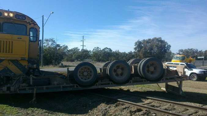 A truck and train collided at a level crossing at Thallon in south-west Queensland.