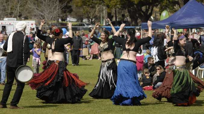 Drumdance belly dance troupe entertain at last year's Toowoomba Language and Cultures Festival in Queens Park.