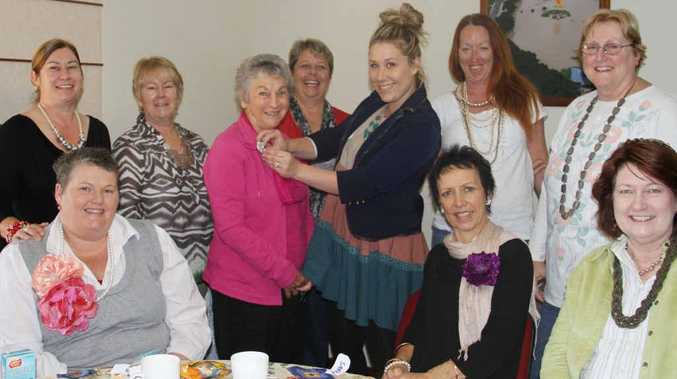 The lovely women of the Cancer Council's monthly morning tea were treated to some fashion tips by professional stylist Sarah Turner.