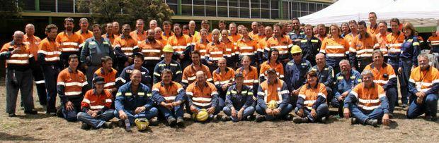 Employees of Blair Athol Mine celebrating the mine's 25 year anniversary.