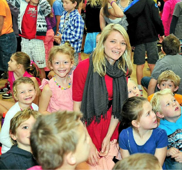 Around-the-world sailor Jessica Watson visits Noosaville State School on Wednesday to thank students for supporting the World Food Program.