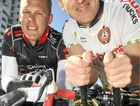 Matt Dillon (right) will be waxing his body to raise money for cancer research. Cyclist Jarrod Covey is cycling to Townsville for the same cause.