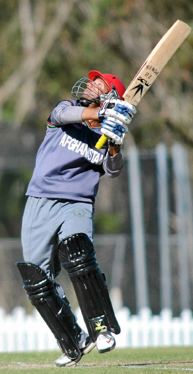 Afghanistan batsman Mohammad Javed skies the ball after scoring 20 against Pakistan yesterday.
