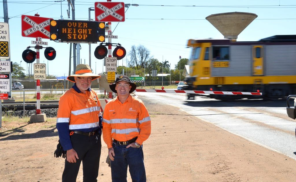 Russell Murray from Australasian Railway Consultancy Services and Jason Livingstone QR National network asset manager.